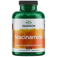 Ниацинамид, Niacinamide, Swanson, 500 мг, 250 капсул
