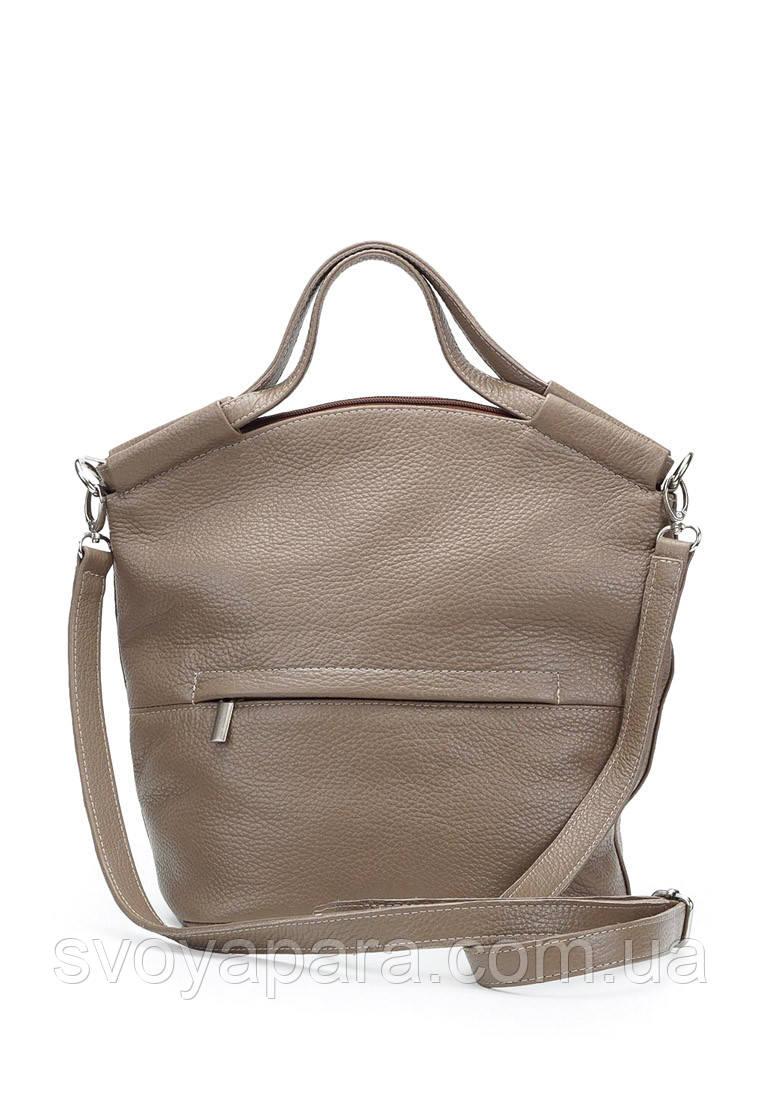 Женская сумка из натуральной кожи флотар цвета капучино с одним основным отделением