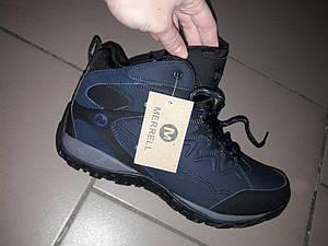 Зимние ботинки merrell 41-46 рр мужские на густом меху зима кожа термо мембрана