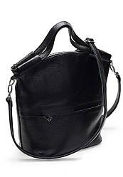Женская сумка из натуральной кожи флотар чёрного цвета с одним основным отделением