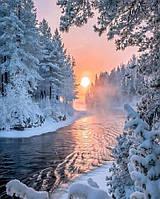 Алмазная мозаика на подрамнике Красота зимнего леса 30 х 40 см (арт. TN636)