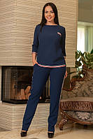 Женские брюки синие с лампасами