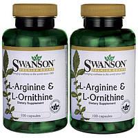 L-аргинин и L-орнитин, Swanson, L-Arginine & L-Ornithine, 500/250 мг, 200 капсул