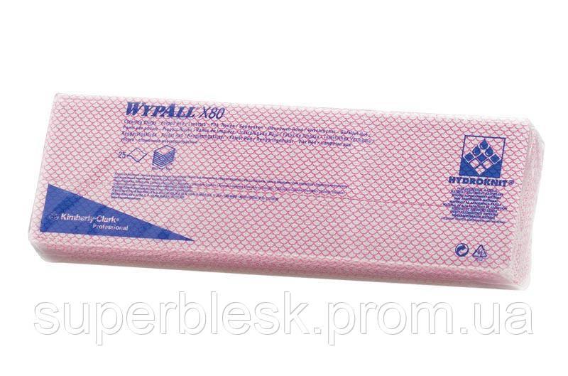 Протирочный нетканный материал салфетки WYPALL X80 в пачке красные