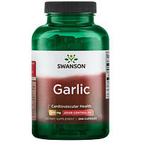 Чеснок, Swanson, Odor-Controlled Garlic, 500 мг, 200 капсул