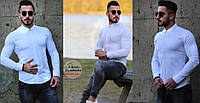 Мужская белая приталенная рубашка