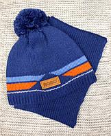 Шапка с шарфиком детская на мальчика зима синего цвета AGBO (Польша) размер  50 52 6cce42833c083