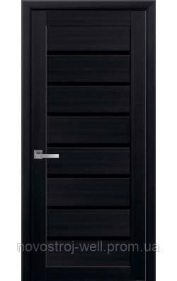межкомнатные двери новый стиль леона Blk с чёрным стеклом венге