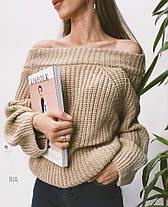 Свитер со спущенными плечами, крупная вязка, размер единый 42-52, фото 3