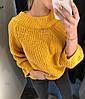 Свитер со спущенными плечами, крупная вязка, размер единый 42-52, фото 2