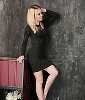 Платье с декоративным декольте Тина черное, женские платья