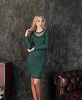 Платье с декоративным декольте Тина, Темно-зеленое, женские платья