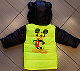 Демисезонная детская куртка Микки Маус с отстегными рукавами, фото 2