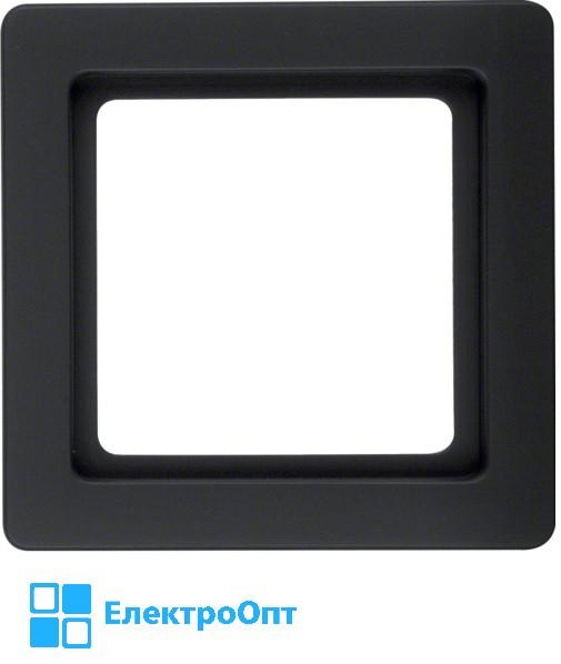 Рамка BERKER Q1, 1-местная, антрацит, бархат, лак 10116086