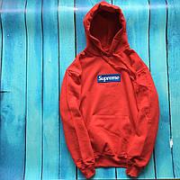 Худи Supreme (Лого-вышивка). Унисекс. Красный с синим. Материалы: 80% Хлопок, 20% Эластан, фото 1