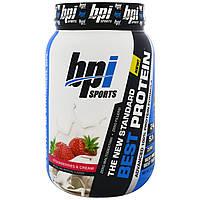 BPI Sports, Лучший протеин, передовая формула со 100%-ным протеином, клубника и сливки, 2 фунта (924 г)