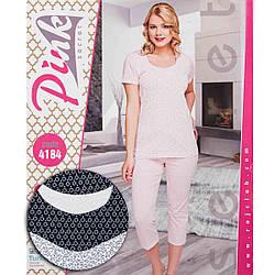 Комплект жіночий візерунковий (футболка та бриджі) Pink Secret Туреччина PK4184L-grey