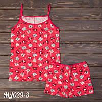Домашние детские комплект оптом для девочек: майка и шорты с узором Majestic Турция MJ029-3