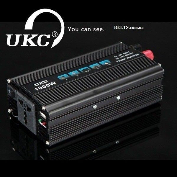 Инвертор 1000 Вт. стабилизатор напряжения UKC 1000W 12V-220V (black series)