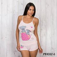 """Домашний комплект-двойка женский: майка и шорты """"Любовь"""" Pink Secret Турция PK4332-6"""
