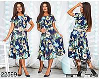Нарядное легкое летнее платье,ткань креп-костюмка,размеры 48,50,52,54., фото 1