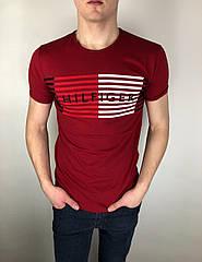 Мужская футболка Tommy Hilfiger качественная копия Бордовый