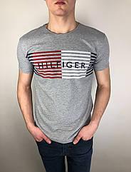 Мужская футболка Tommy Hilfiger качественная копия Серый
