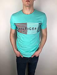 Мужская футболка Tommy Hilfiger качественная копия Бирюза
