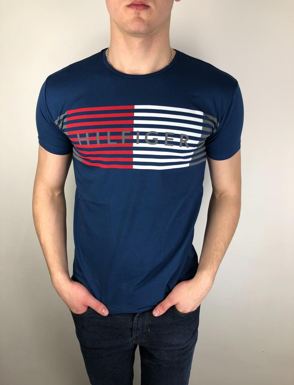 Мужская футболка Tommy Hilfiger качественная копия Темно-синий