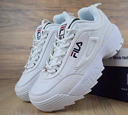Женские кроссовки в стиле Fila Disruptor II белые. Живое фото