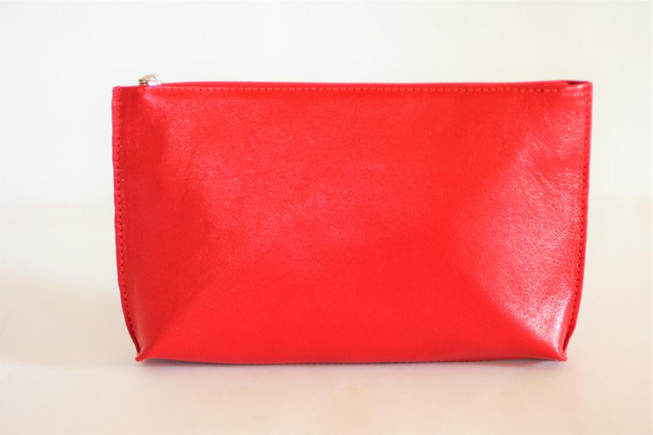 Компактная женская кожаная косметичка красного цвета (13409)