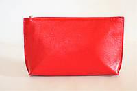 Компактная женская кожаная косметичка красного цвета (13409), фото 1