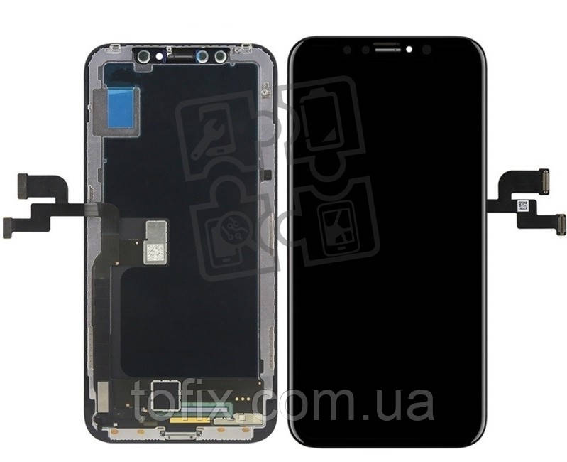 Дисплейный модуль (экран и сенсор) для iPhone XS, с рамкой, черный, оригинал (OLED)
