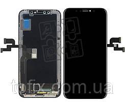 Дисплейный модуль (дисплей + сенсор) для iPhone XS, с рамкой, черный, оригинал (OLED)