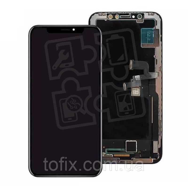 Дисплейный модуль (дисплей + сенсор) для iPhone XS Max, с рамкой, черный, оригинал (OLED)