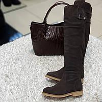 Ботфорти чоботи жіночі зимові з натуральної замші та натурального хутра на плоскій підошві коричневі