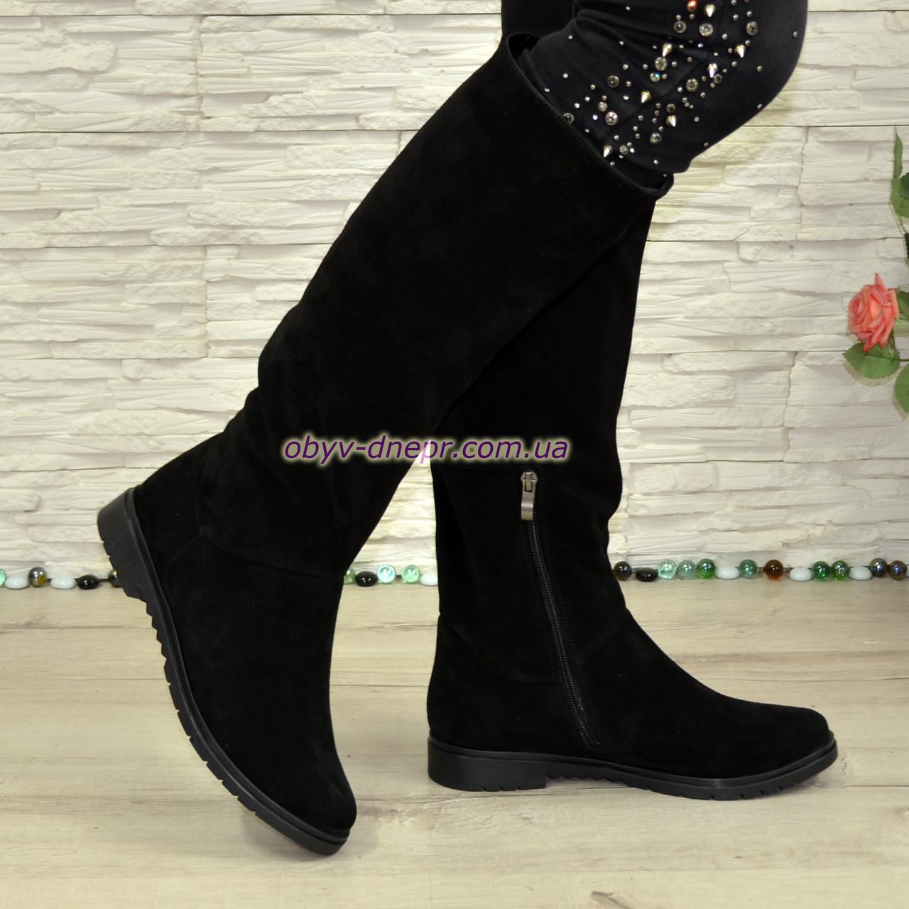 Сапоги-трубы женские замшевые демисезонные черного цвета