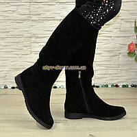 Сапоги-трубы женские замшевые демисезонные черного цвета, фото 1