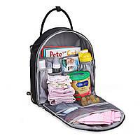 Большая сумка-рюкзак для прогулок и путешествий с младенцем  Mommore  черный для мам, фото 4