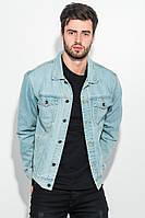 (Голубой) (Размер XL) Куртка джинс мужская с принтом на спине 272V001