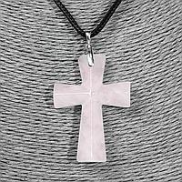 Розовый кварц, серебро, крестик, 952КЛР