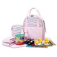 Большая сумка-рюкзак для прогулок и путешествий с младенцем   розовая  Mommore для мам, фото 7