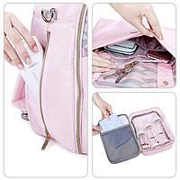 Большая сумка-рюкзак для прогулок и путешествий с младенцем   розовая  Mommore для мам, фото 6