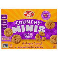 """Enjoy Life Foods, """"Хрустящие печеньки"""", хрустящее печенье с сахаром, снэки в отдельных упаковках, 6 шт. по 1 унции (28 г)"""