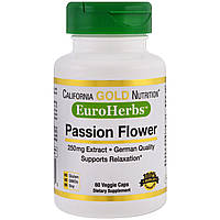 California Gold Nutrition, EuroHerbs, Пассифлора XT 250 mg, VC MB, 60 карат