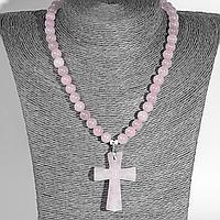 Розовый кварц, серебро, крестик, 953КЛР