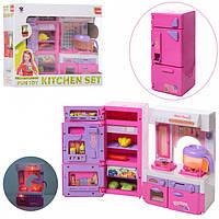 Детская игрушечная мебель для кукол кухня, плита, холодильник, продукты, звук, свет