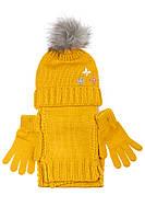 (Горчичный) (Размер 4-7) Комплект детский для девочки) шапка, шарф и перчатки однотонный, с декором 65PG5109 junior