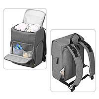 Многофункиональная, стильная сумка-рюкзак для мам  серая  Mommore, фото 5
