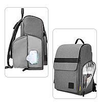 Многофункиональная, стильная сумка-рюкзак для мам  серая  Mommore, фото 3